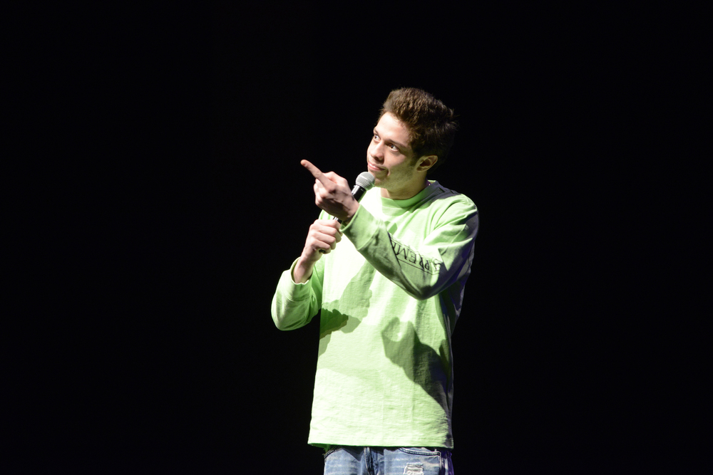 "Comedian Pete Davidson, a regular cast member on ""Saturday Night Live,"" performs during a Spring Weekend comedy show in the Jorgensen Center for the Performing Arts in Storrs, Connecticut on Friday, April 22, 2016. (Jason Jiang/The Daily Campus)"