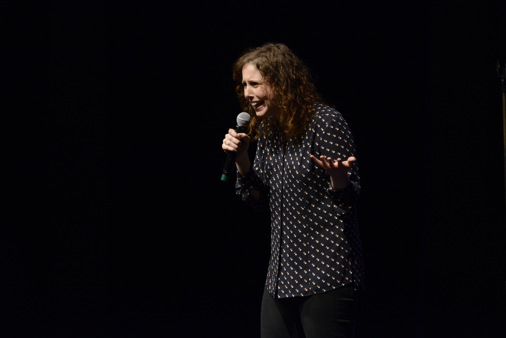 "Comedian Vanessa Bayer, a regular cast member on ""Saturday Night Live,"" performs during a Spring Weekend comedy show in the Jorgensen Center for the Performing Arts in Storrs, Connecticut on Friday, April 22, 2016. (Jason Jiang/The Daily Campus)"