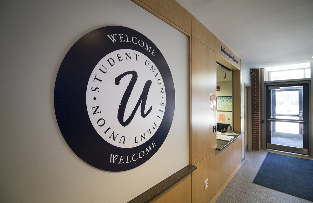 A welcome sign inside the UConn Student Union on the UConn campus in Storrs, Connecticut. The building houses a number of student clubs and organizations. (Jackson Mitchell/The Daily Campus)