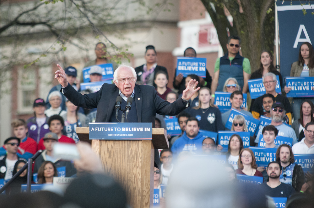 Vermont Sen. Bernie Sanders speaks during a rally on the New Haven Green in New Haven, Connecticut on Sunday, April 24, 2016. (Kyle Constable/The Daily Campus)