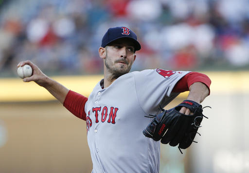 Boston Red Sox starting pitcher Rick Porcello (22) works in the first inning of a baseball game against the Atlanta Braves Monday, April 25, 2016, in Atlanta. (AP Photo/John Bazemore)