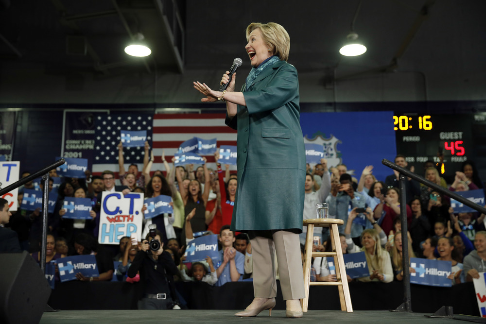 Democratic presidential candidate Hillary Clinton speaks during a campaign stop, Sunday, April 24, 2016, at the University of Bridgeport in Bridgeport, Conn. (AP Photo/Matt Rourke)
