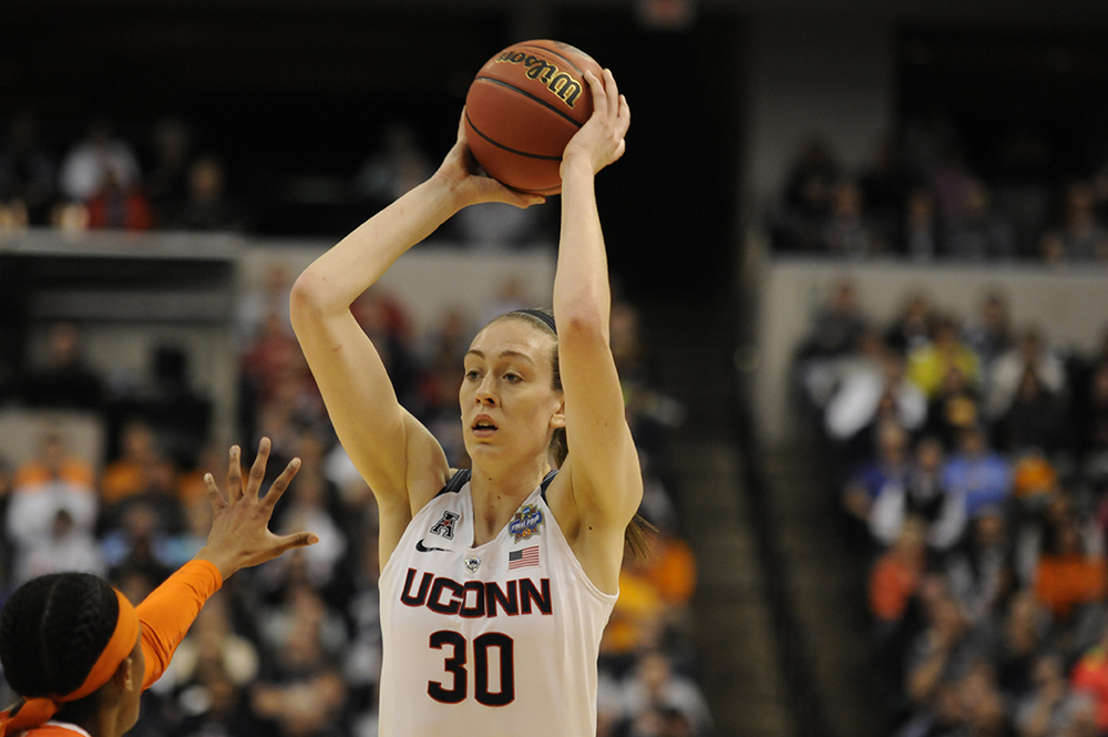 Breanna Stewart looks to make a play during UConn's victory in the national championship game over Syracuse on April 5, 2016. Stewart was one of five former Huskies to make the 2016 U.S. Olympic Team. (Bailey Wright/The Daily Campus)