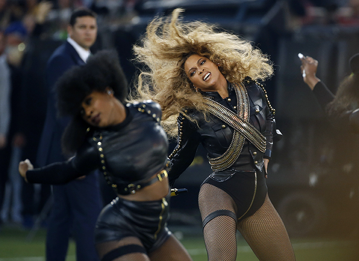 "FILE - In this Sunday, Feb. 7, 2016, file photo, Beyonce performs during halftime of the NFL Super Bowl 50 football game in Santa Clara, Calif. After the recent debut of her visual album ""Lemonade"" on HBO, a Ticketmaster representative told The Associated Press on Wednesday, April 27, that the ticket outlet company saw searches forBeyoncé's concerts increased by 116 percent compared to last week. (AP Photo/Matt Slocum, File)"