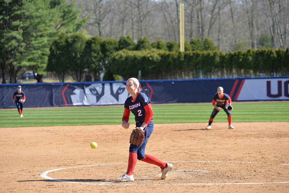 Freshman Jill Tockley delivers a pitch during UConn's 16-0 victory over Hartford at the Burrill Family Field on Wednesday April 27, 2016. Stockley and Kayla Doty combined to throw a one-hit shutout. (Amar Batra/The Daily Campus)