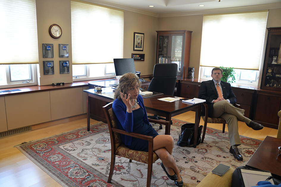 Senior staff writer Kyle Constable interviewed University of Connecticut President Susan Herbst during her office hours on Friday, April 29, 2016. She was joined by her deputy chief of staff, Michael Kirk. (Amar Batra/Daily Campus)