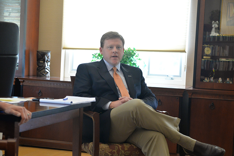 Senior staff writer Kyle Constable interviewed University of Connecticut President Susan Herbst during her office hours on Friday, April 29, 2016. She was joined by her deputy chief of staff, Michael Kirk, pictured above. (Amar Batra/Daily Campus)