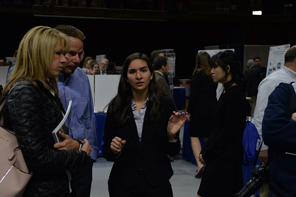 Senior Tara D'Ambruoso explains her project during at Senior Design Demonstration Day at Gampel Pavilion on April 29, 2016. (Amar Batra/The Daily Campus)
