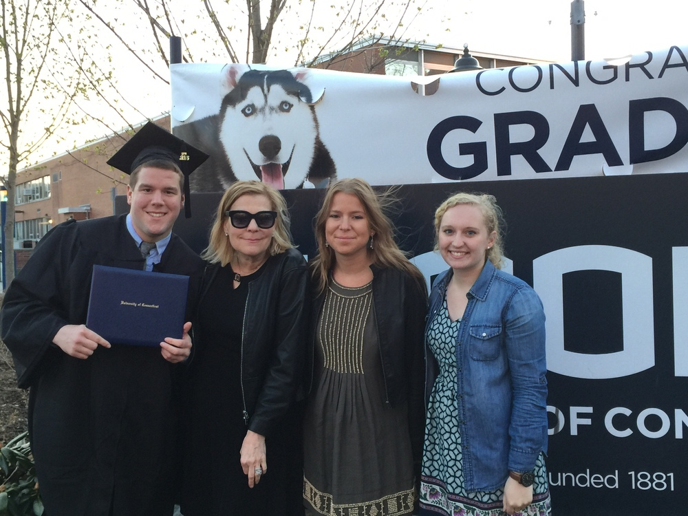 Zabierek and his mother, Melissa Conley, sister, Brie, and girlfriend, Bailey Wright, are seen following Zabierek's college graduation on Sunday, May 8, 2016. Zabierek graduated from UConn with a degree in both journalism and psychology. (Photo courtesy of Matthew Zabierek)