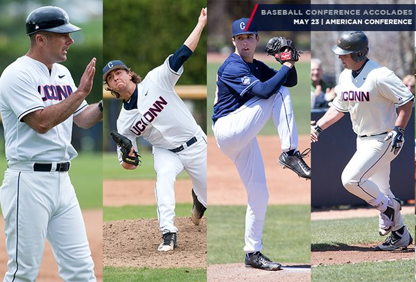 From left, manager Jim Penders, Anthony Kay, Tim Cate and Joe DeRoche-Duffin are seen in action. These four were given major awards on Monday from the American Athletic Conference. (@UConnBaseball)
