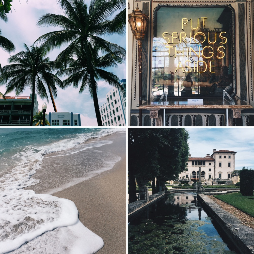 From top right corner clockwise) Palm trees line the Art Deco District on Ocean Drive in South Beach Miami. A lighted sign in the Vizcaya Museum. Garden view of the Vizcaya Muesum. Waves crash along the shore at South Beach. (Angie DeRosa/The Daily Campus)