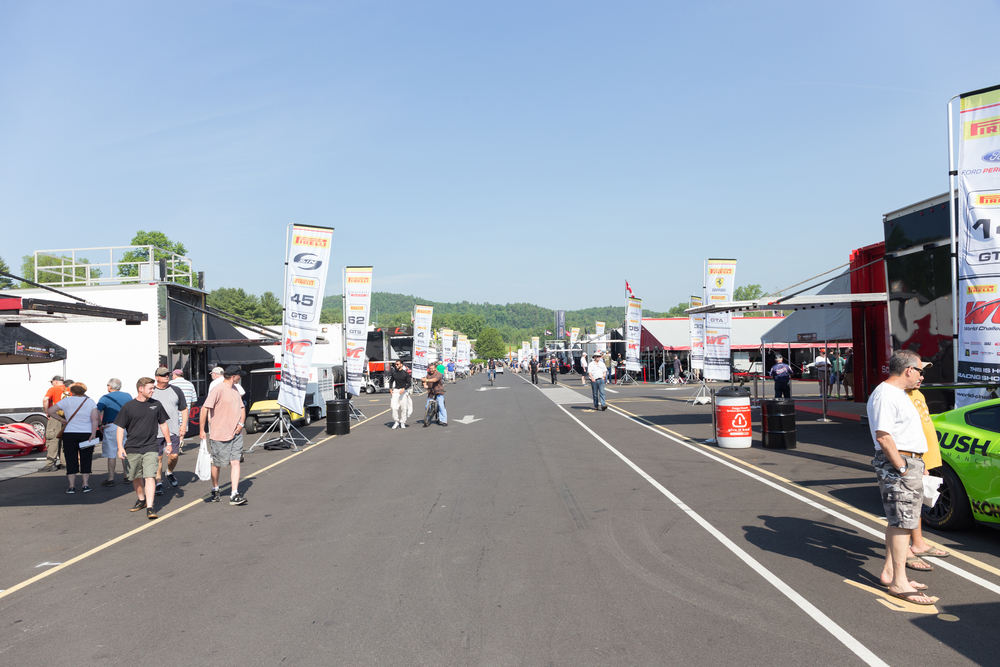 The race teams' paddock area is open the entire day, which offers fans a great look at the cars that they see out on the track. (Jackson Haigis/Daily Campus)