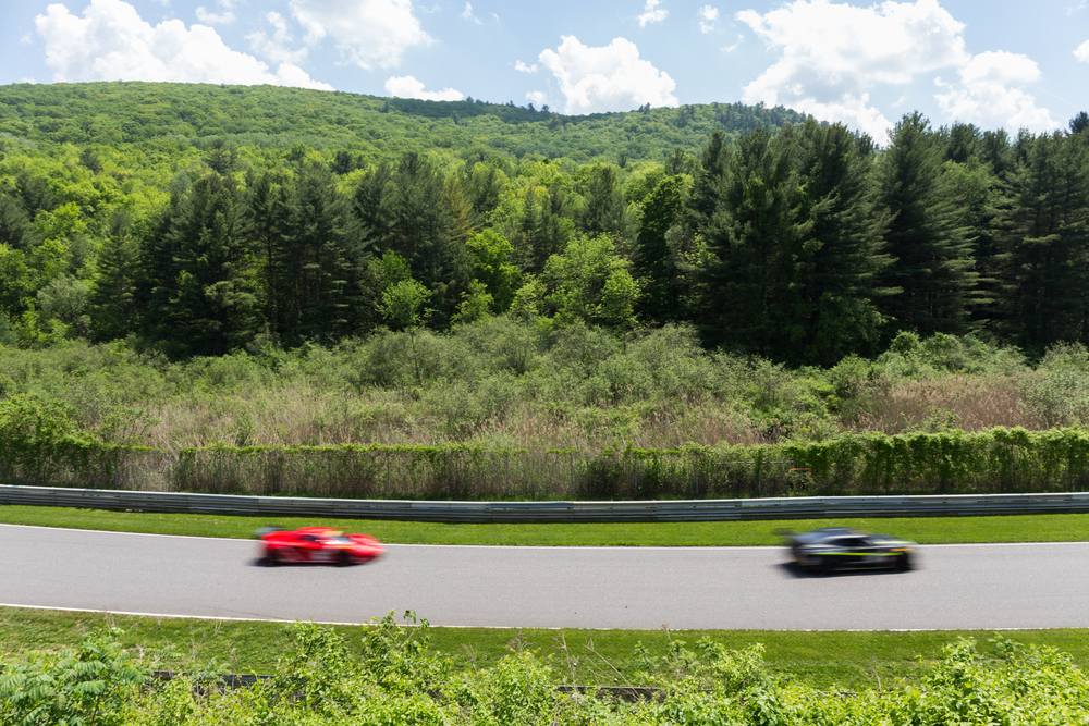 "A view of the back straightaway, nicknamed the ""No Name Straight"" as the GT cars race by. (Jackson Haigis/Daily Campus)"