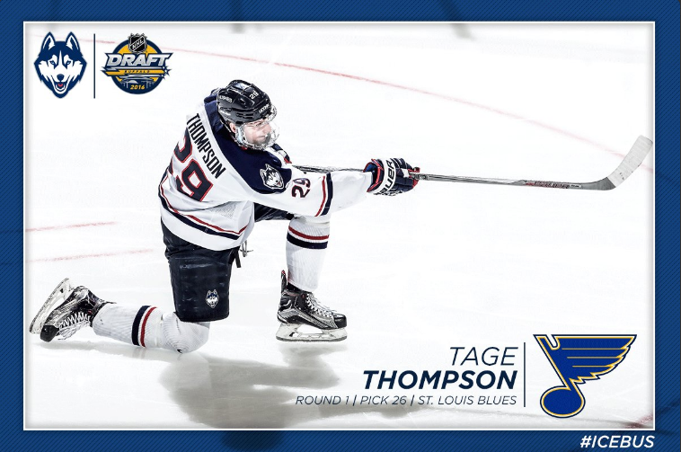 Tage Thompson became UConn's first-ever first round NHL Draft pick Friday night. (Photo courtesy of @UConnMHOC)