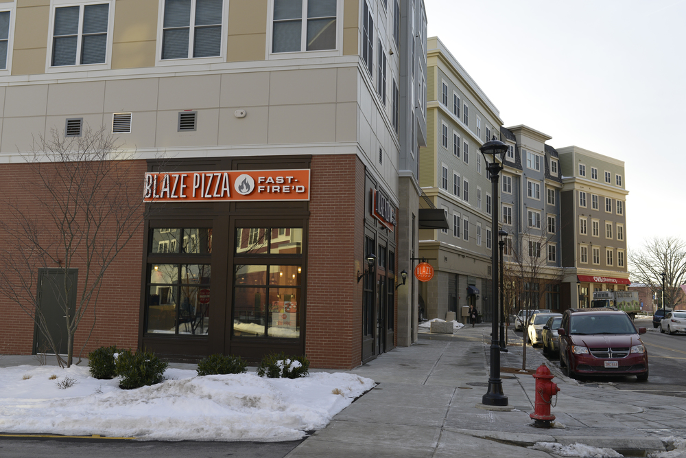 Blaze Fast Fire'd Pizza is located at 12 Royce Circle, across the street from The Oaks on the Square apartment complex and the liquor store, Storrs Wine and Spirits. (Jason Jiang/The Daily Campus)