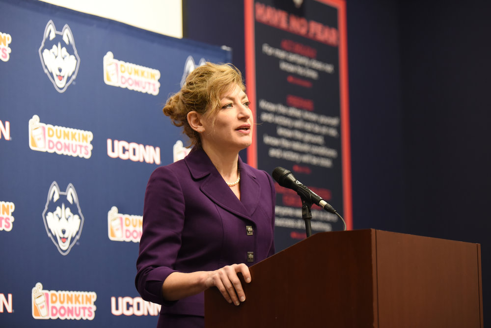 It's about time. On the subject of conference realignment, UConn was surprisingly quiet. However, news broke this week that president Susan Herbst, pictured above, wrote a letter to the Big 12 commissioner. (Zhelun Lang/The Daily Campus)