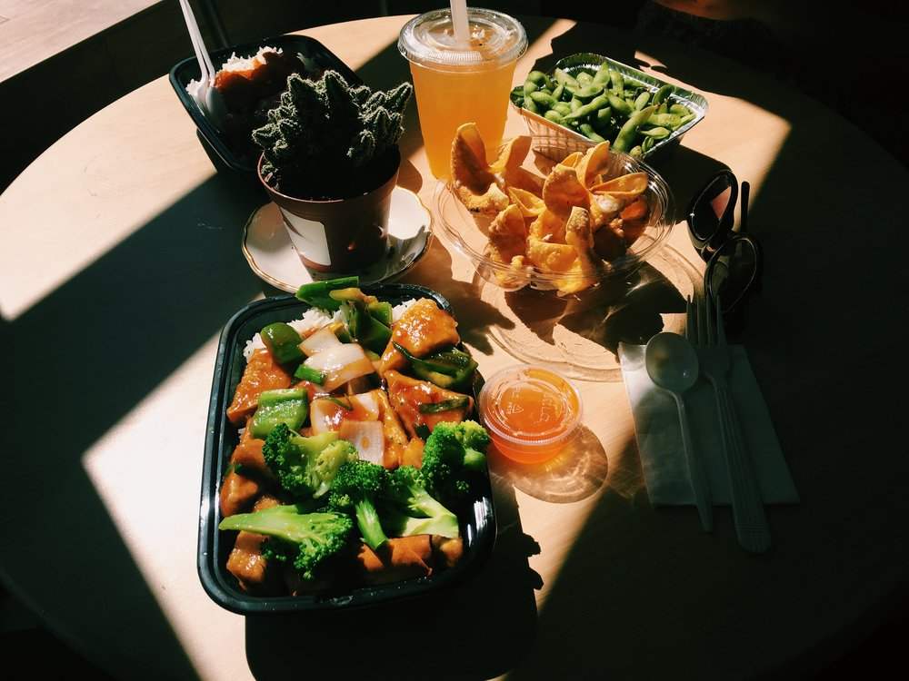 A meal box with white rice and sweet and sour shrimp. (Megan Krementowski/The Daily Campus)