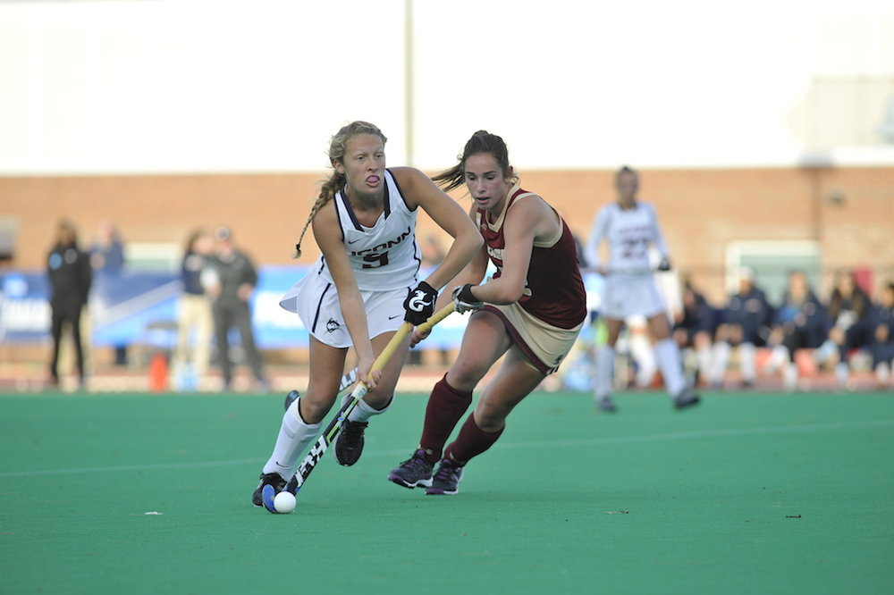 Sophomore forward Amelia Iacobucci in UConn's second round victory over Boston College in the  NCAA Field Hockey Championships on Nov. 15, 2015. (Jason Jiang/The Daily Campus)