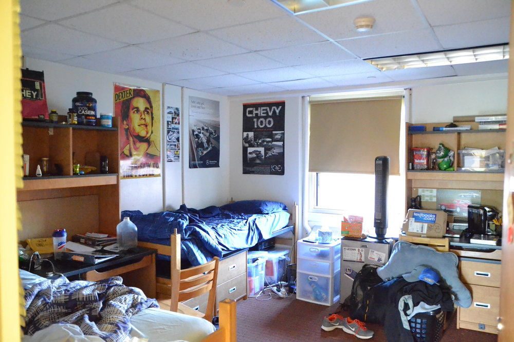 A dorm room in Northwest Residence Hall, as decorated by the residents, in Sept. 2015. (Olivia Stenger/The Daily Campus)