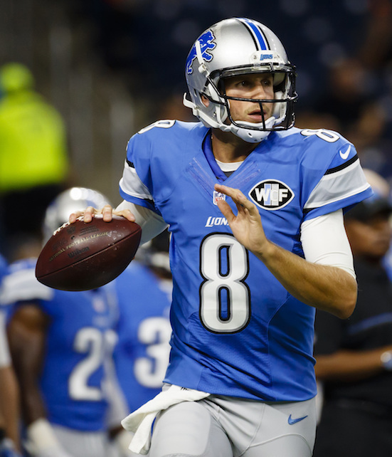 In this Aug. 18, 2016, file photo, Detroit Lions quarterback Dan Orlovsky (8) warms up prior to an NFL football game against the Cincinnati Bengals, at Ford Field in Detroit. (Rick Osentoski/AP Photo)