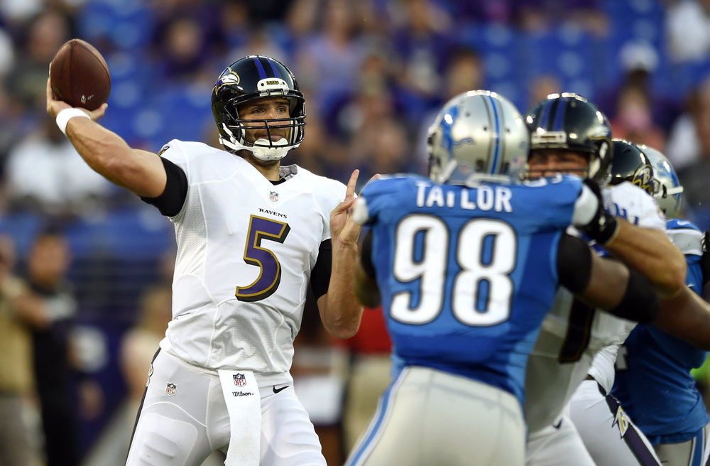 Baltimore Ravens quarterback Joe Flacco (5) throws to a receiver in the first half of a preseason NFL football game against the Detroit Lions, Saturday, Aug. 27, 2016, in Baltimore. (Gail Burton/AP)
