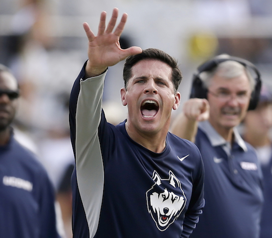 UConn, one of several programs being mentioned as a candidate for expansion by the Big 12, is dealing with something new in head coach Diaco's third season as its head football coach, expectations. (John Raoux/AP)