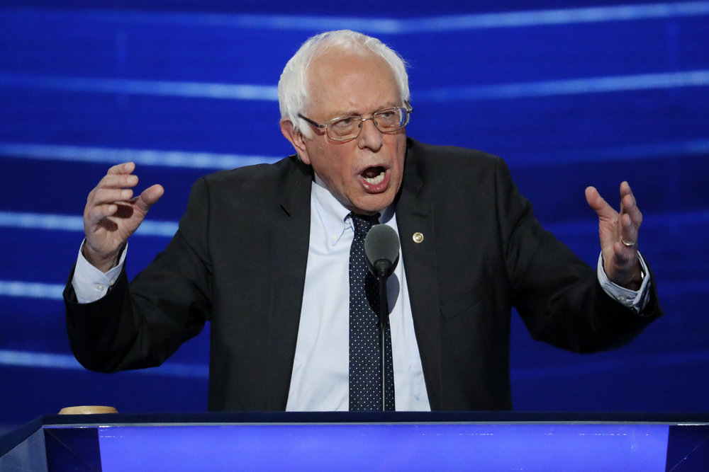 In this July 25, 2016 file photo, Sen.  Bernie   Sanders , I-Vt. speaks at the Democratic National Convention in Philadelphia.    (J. Scott Applewhite/AP)