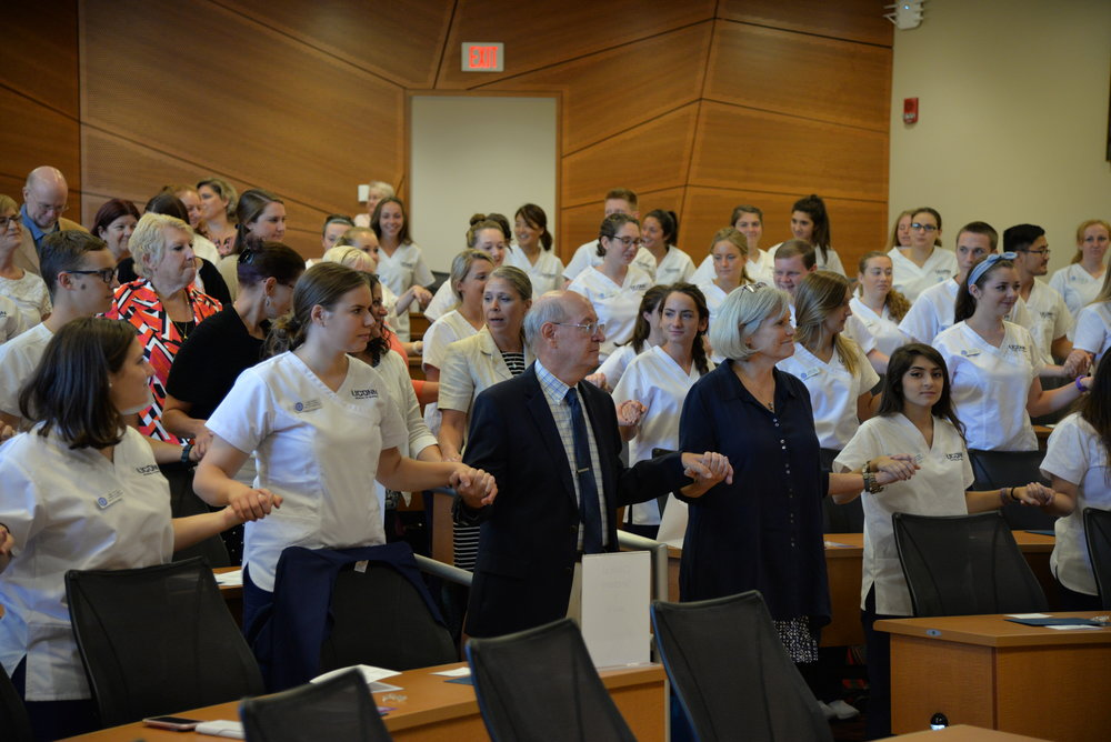 The junior class of UConn's School of Nursing held a ceremony to celebrate the beginning of their clinical training at Storrs Hall. (Amar Batra/The Daily Campus)