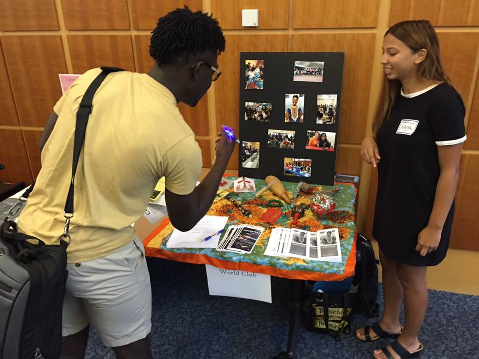 Alyssa Garcia, president of World club promotes her organization to perspective students at the Involvement Fair held on Thursday Sept. 1. (Courtesy/Paul Young)