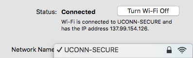 This screenshot shows network diagnostics in connecting to UCONN-SECURE.