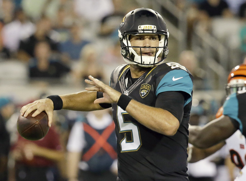 Jacksonville Jaguars quarterback Blake Bortles (5) throws a pass during the first half of an NFL preseason football game against the Cincinnati Bengals in Jacksonville, Fla., Sunday, Aug. 28, 2016. (AP Photo/John Raoux)