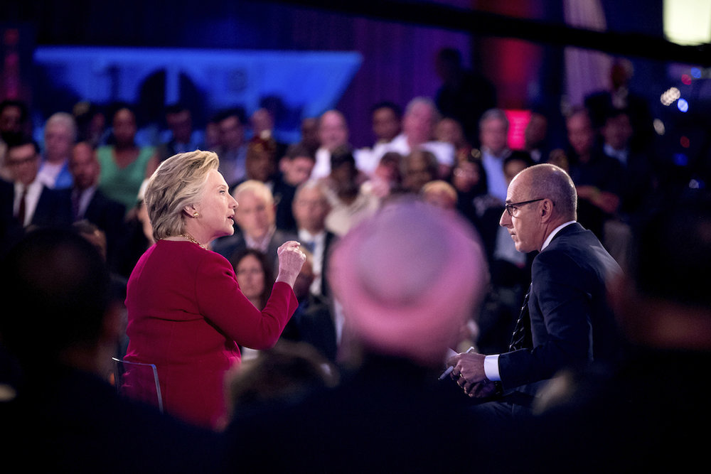 Democratic presidential candidate Hillary Clinton speaks with 'Today' show co-anchor  Matt   Lauer  at the NBC Commander-In-Chief Forum held at the Intrepid Sea, Air and Space museum aboard the decommissioned aircraft carrier Intrepid, New York, Wednesday, Sept. 7, 2016. (Andrew Harnik/AP)
