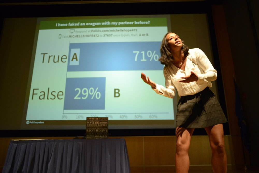 Michelle Hope gives UConn students an engaging presentation about safe sex in the Student Union Ballroom on September 13th 2016. (Jason Jiang/The Daily Campus)