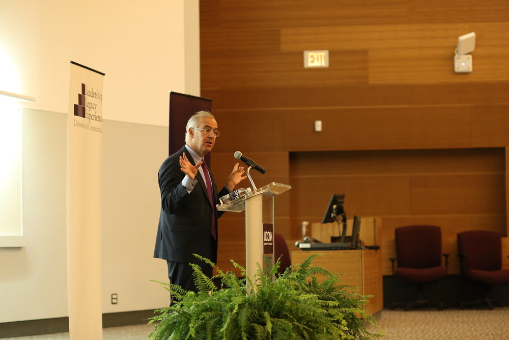 "New York Times columnist David Brooks spoke in Laurel Hall Tuesday evening to promote his book ""Road to Character."" (Jackson Haigis/The Daily Campus)"