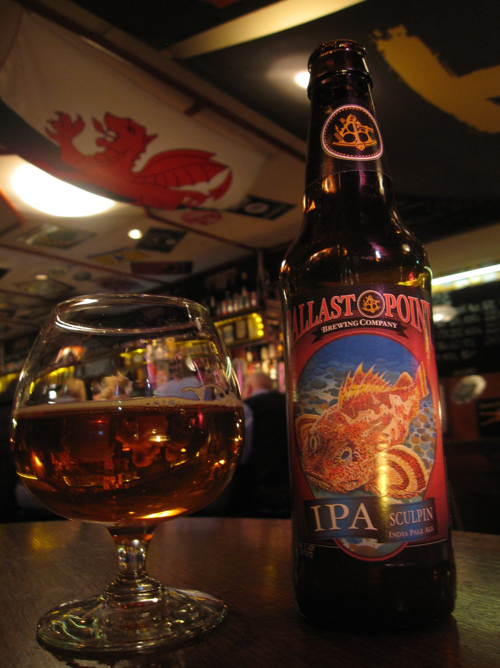 A bottle of Sculpin IPA from Ballast Point Brewing Company in San Diego, California, at Oliver Twist in Stockholm. (Bernt Rostad/Flickr)