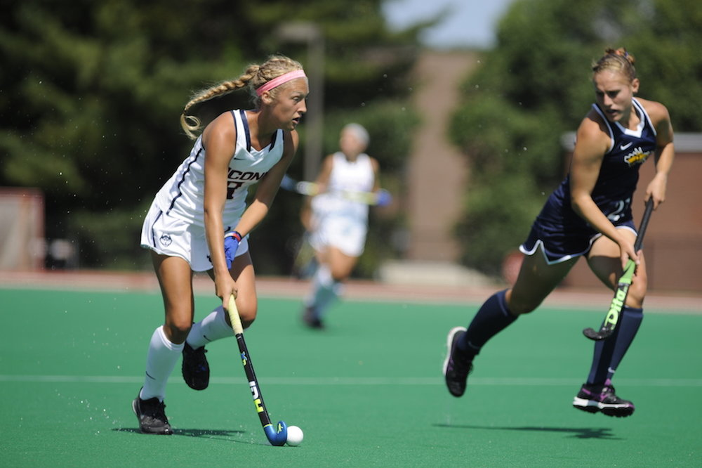 UConn's Amelia Iacobucci takes the ball down during the Huskies' 7-2 win against Drexel on September 4th. (Jason Jiang/The Daily Campus)