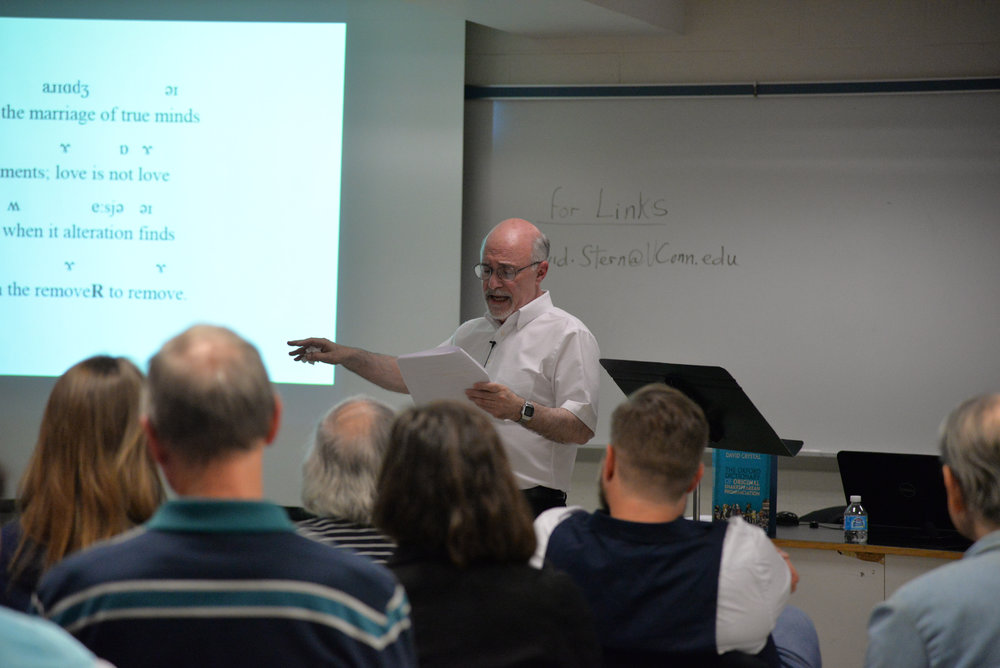 Dramatic arts professor Dr. David Stern, with the help of UConn faculty and dramatic arts students, gives a presentation on the original sound of Shakespeare's plays on Thursday evening. (Amar Batra/The Daily Campus)