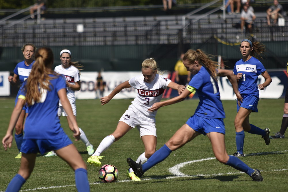UConn soccer in a game against CCSU on Sept. 4th. (Amar Batra/The Daily Campus)