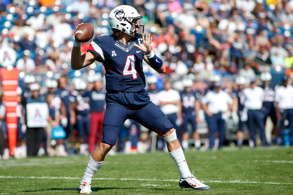 Quarterback Bryant Shirreffs winds up to launch a pass during a 13-10 win over the Cavaliers on Saturday, Sept. 17 at Pratt and Whitney Stadium in East Hartford. (Photo by Tyler Benton/The Daily Campus)