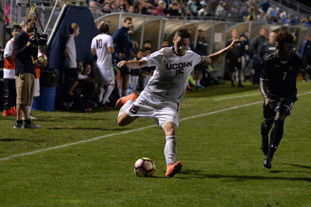 Jacob Nerwinski kicks the ball during a 5-1 win over Loyola Maryland on Saturday, Sept. 17 at Morrone Stadium. (Amar Batra/The Daily Campus)