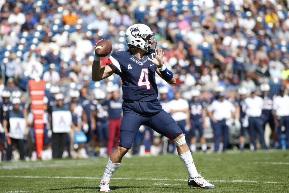 Quarterback Bryant Shirreffs winds up to make a pass during a 13-10 win over Virgjnia in Saturday, Sept. 17. UConn will take on former Big East rival Syracuse at Pratt and Whitney Stadium this Saturday. (Photo by Tyler Benton/The Daily Campus)