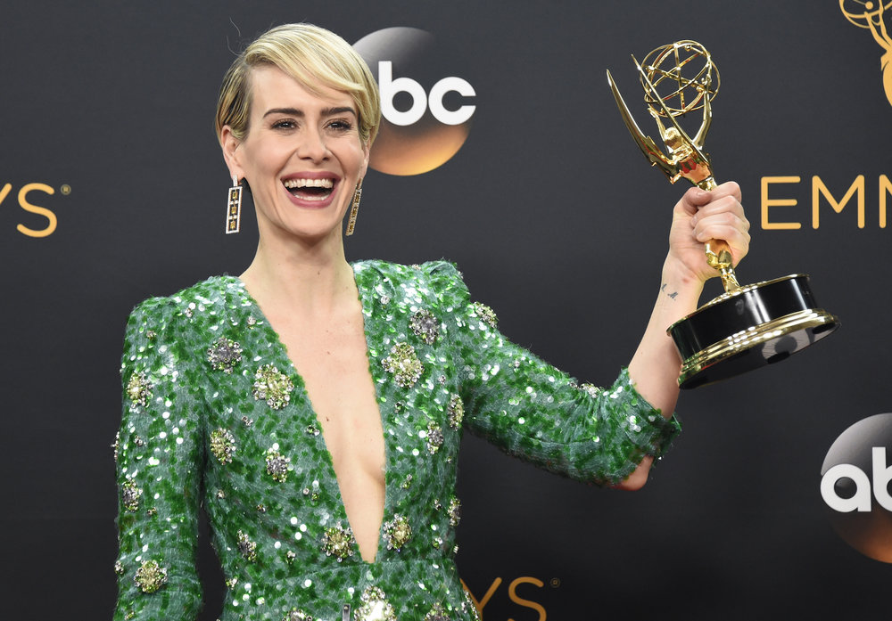 "Sarah Paulson poses in the press room with the award for outstanding lead actress in a limited series or a movie for ""The People v. O.J. Simpson: American Crime Story"" at the 68th Primetime Emmy Awards on Sunday, Sept. 18, 2016, at the Microsoft Theater in Los Angeles. (Phil McCarten/Invision for the Television Academy/AP Images)"