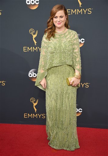 Amy Poehler arrives at the 68th Primetime Emmy Awards on Sunday, Sept. 18, 2016, at the Microsoft Theater in Los Angeles. (Phil McCarten/AP Photo
