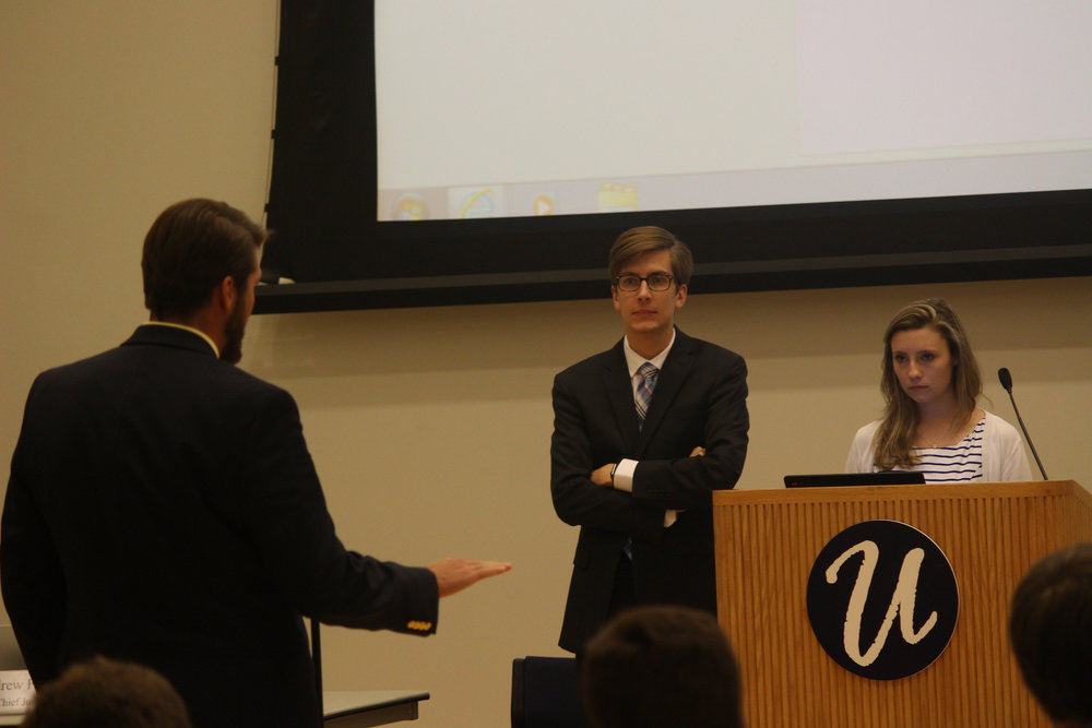 Undergraduate Student Government President Dan Byrd and Lysette Johnson, funding board chair, passes a funding bill on Wednesday, Sept. 21, 2016 (Mustafe Mussa/Daily Campus)
