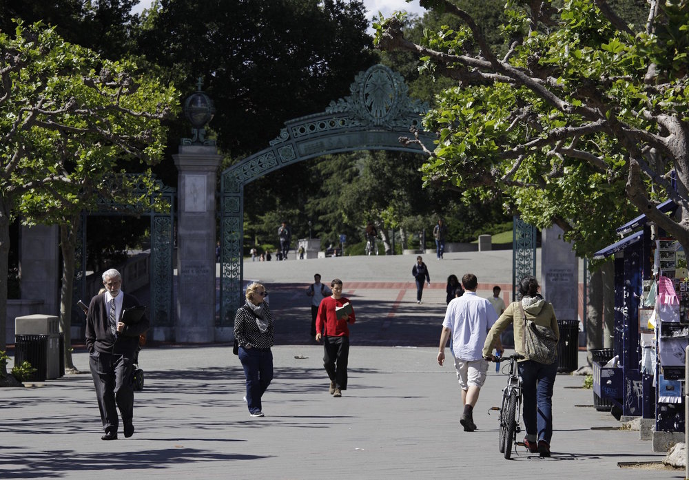 People walk through Sproul Plaza near the Sather Gate on the University of California, Berkeley campus in Berkeley, Calif. The university suspended a class on Sept. 13, 2016, amid complaints that it shared anti-Semitic viewpoints and was designed to indoctrinate students against Israel. (AP/Eric Risberg, File)