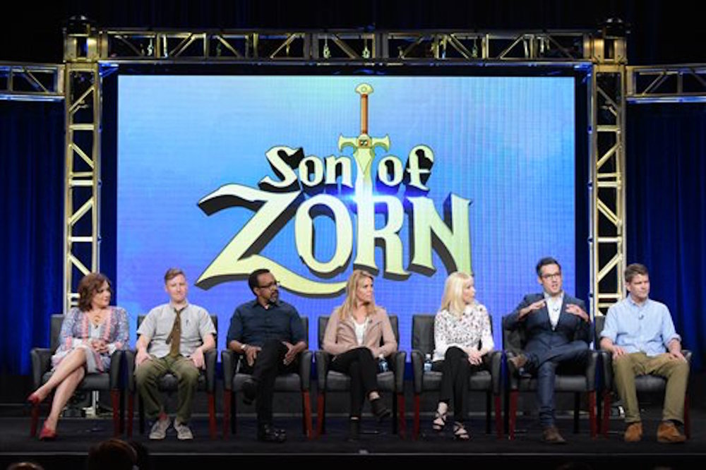 "Artemis Pebdani, from left, Johnny Pemberton, Tim Meadows, Cheryl Hines, executive producer Sally Bradford McKenna, executive producer/director Eric Appel and co-creator/executive producer Reed Agnew participate in the ""Son of Zorn"" panel during the Fox Television Critics Association summer press tour on Monday, Aug. 8, 2016, in Beverly Hills, California. (Richard Shotwell/Invision/AP)"