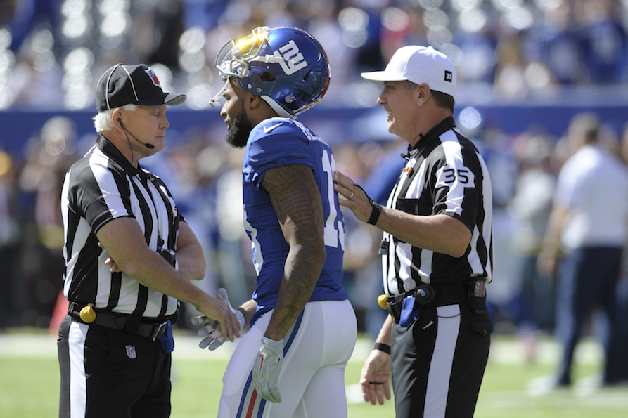 New York Giants wide receiver Odell Beckham (13) talks to officials before an NFL football game against the Washington Redskins Sunday, Sept. 25, 2016, in East Rutherford, N.J. (Bill Kostroun/AP Photo)