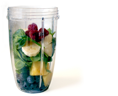Fruit and vegetables in a blender cup. (Lori Greig/Flickr)