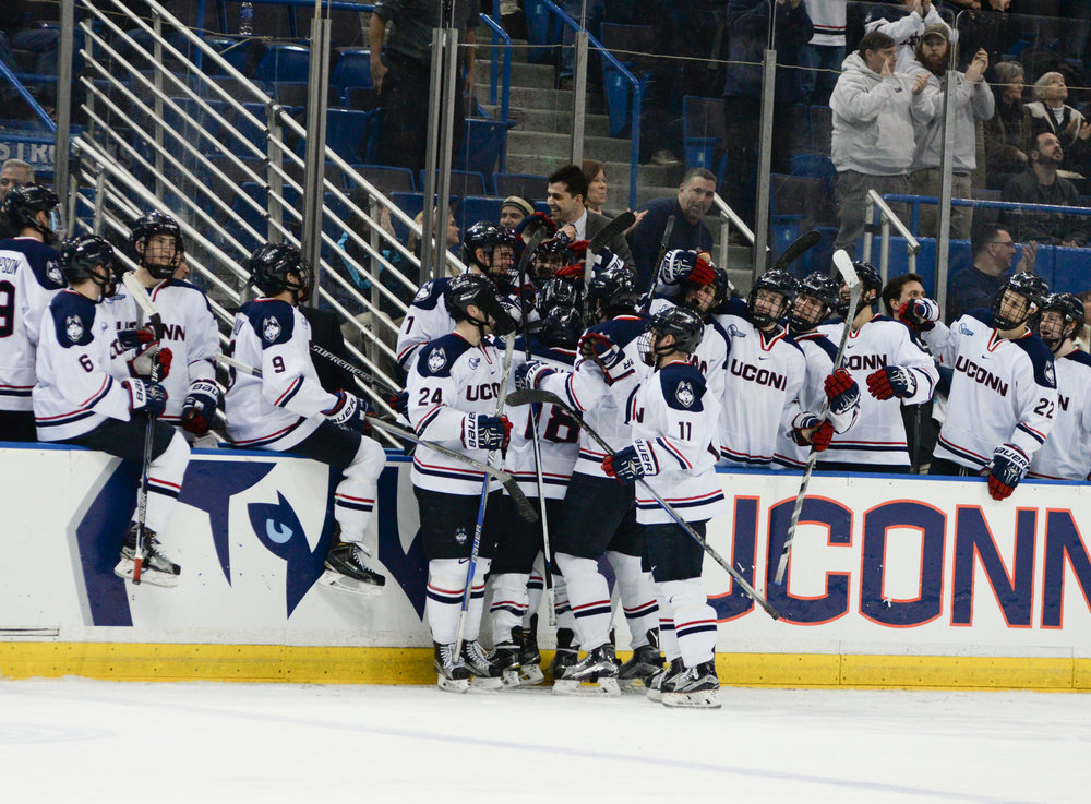 The men's hockey team celebrates a special senior night by defeating the University of New Hampshire 4-1 on Friday, Feb. 26, 2016. Starting Friday, Coach Mike Cavanaugh will be entering his fourth year at the helm for UConn in 2016-17. (Amat Batra/The Daily Campus)