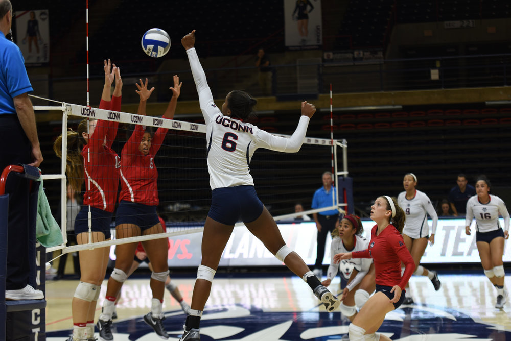 Outside hitter Kayla Williams (6) spikes the ball during UConn's 3-0 set shut-out of the University of Houston on Friday, Sept. 30, 2016. The Huskies continue conference play against Temple on Wednesday, Sept. 28, 2016 in Gampel Pavilion. (Charlotte Lao/The Daily Campus)